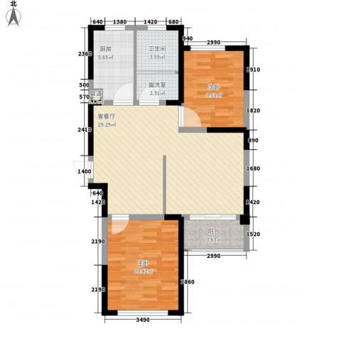 蓉湖山水2室1厅1卫1厨97.00㎡户型图