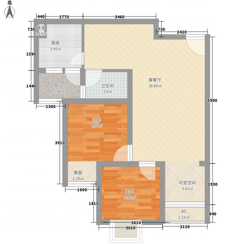 公园榕郡66.98㎡D-1观景洋房标准层户型2室2厅1卫1厨
