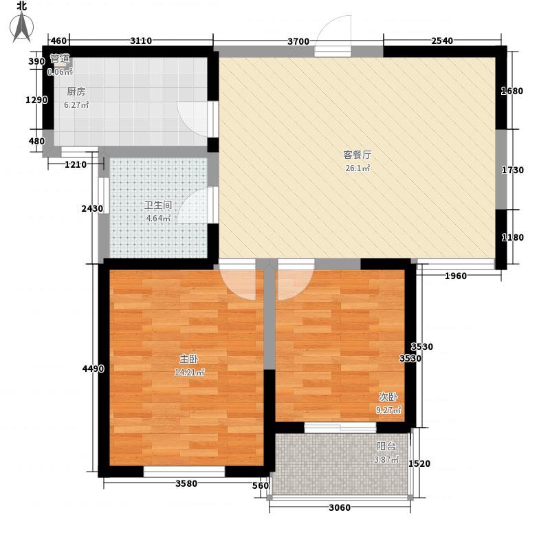 蓉湖山水92.64㎡二期高层B5栋C-A2户型2室2厅1卫