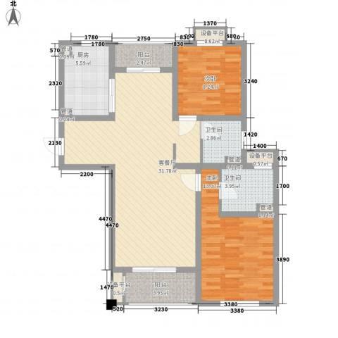城置御水华庭2室1厅2卫1厨108.00㎡户型图