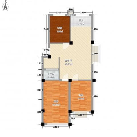 汇峰山海郡3室1厅1卫0厨73.76㎡户型图