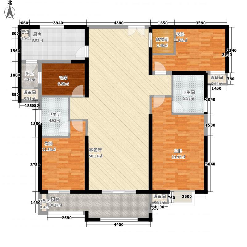 世茂湖滨首府171.70㎡3#楼502、802、1102、1402、1702、2002户型4室2厅2卫1厨