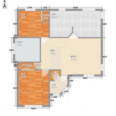 孔雀湖原乡国际假日基地2室1厅1卫1厨90.00㎡户型图