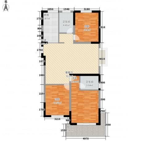 蓉湖山水3室1厅2卫1厨130.00㎡户型图