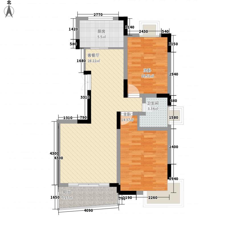 经纬府邸7.70㎡A1户型2室2厅1卫1厨