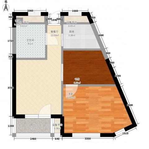 宅语原2室1厅1卫1厨59.00㎡户型图