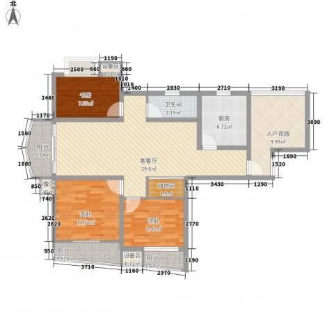枫林湾3室1厅1卫1厨104.19㎡户型图