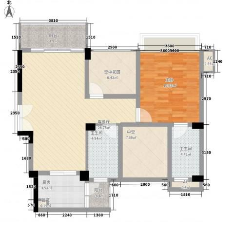 涛汇尚品1室1厅2卫1厨88.00㎡户型图