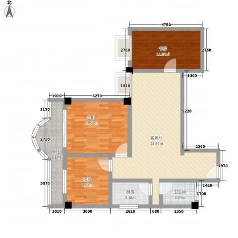 江山大厦3室1厅1卫1厨142.00㎡户型图
