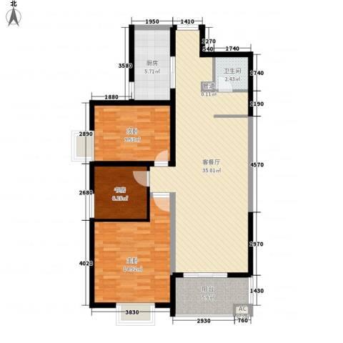 荣德棕榈湾3室1厅1卫1厨114.00㎡户型图