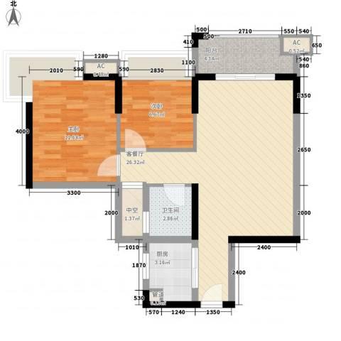 涛汇尚品2室1厅1卫1厨71.00㎡户型图