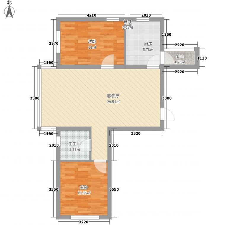 华源名居86.78㎡标准层A1户型2室2厅1卫1厨