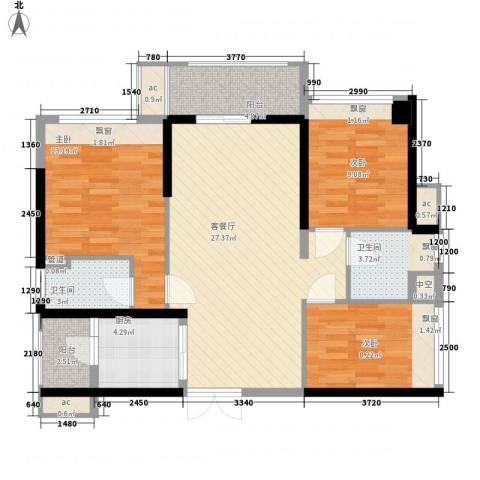 怡翠宏�3室1厅2卫1厨91.00㎡户型图