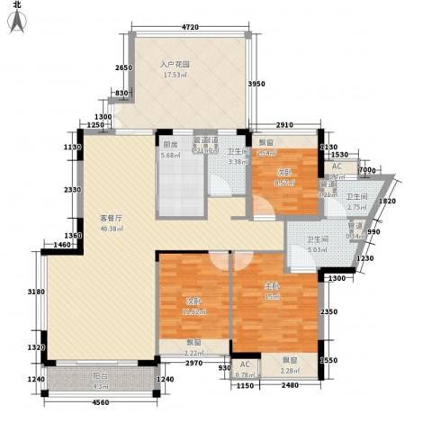 御泉山3室1厅3卫1厨165.00㎡户型图