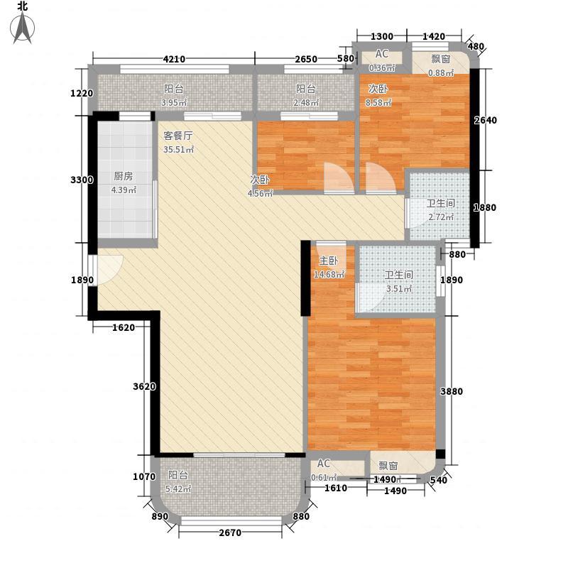 宏景花园111.00㎡1#05单元户型3室2厅2卫1厨