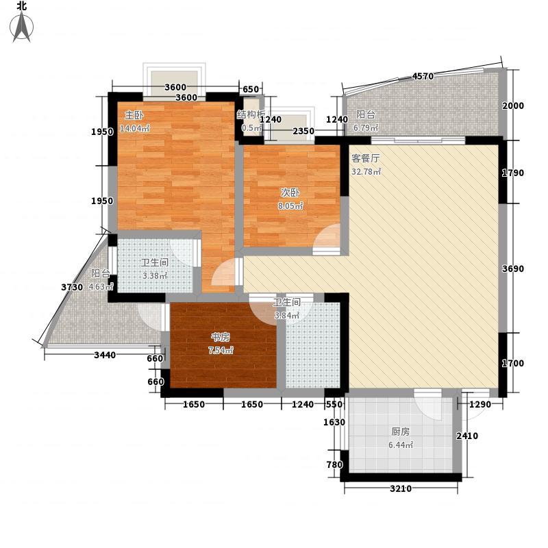 东方丽都111.80㎡G型户型3室2厅2卫1厨