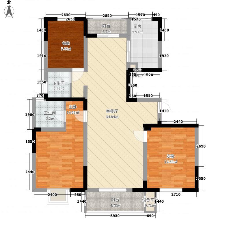 汇金天地127.34㎡E户型3室2厅2卫1厨