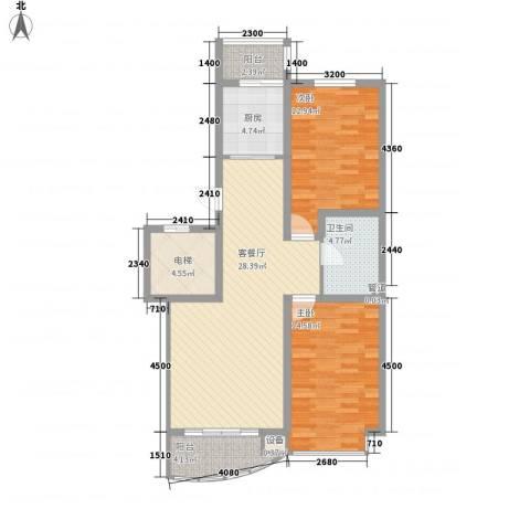 君临天下2室1厅1卫1厨94.00㎡户型图