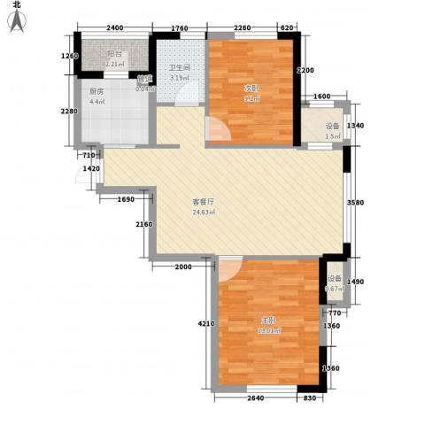 中庚香海连天2室1厅1卫1厨80.00㎡户型图
