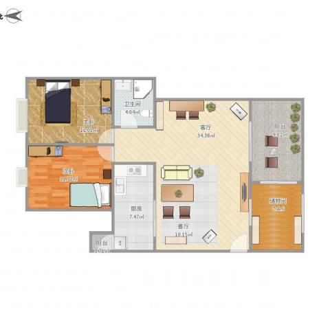 远洋城万象花园2室1厅1卫1厨110.00㎡户型图