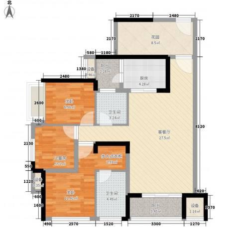 大欣城・世纪花园3室1厅2卫1厨118.00㎡户型图