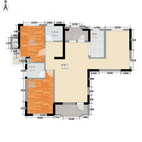 中庚香海连天2室1厅2卫1厨97.00㎡户型图