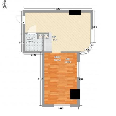 海格国际1厅1卫0厨55.00㎡户型图