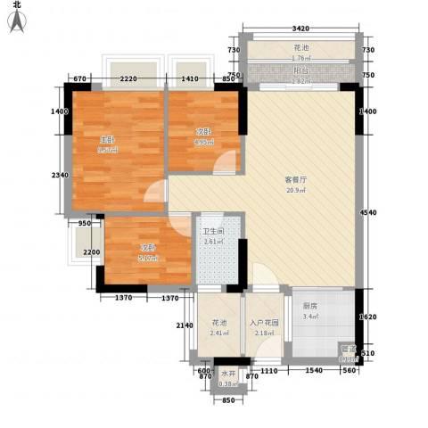 东海国际花园3室1厅1卫1厨81.00㎡户型图