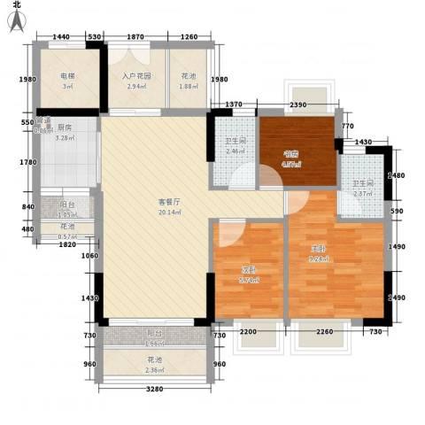 东海国际花园3室1厅2卫1厨91.00㎡户型图