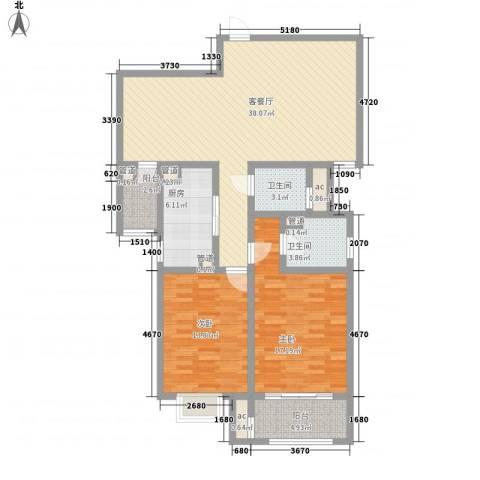 朝阳国际广场2室1厅2卫1厨134.00㎡户型图