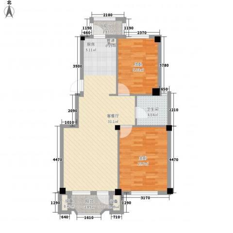 中庚香海连天2室1厅1卫0厨85.00㎡户型图