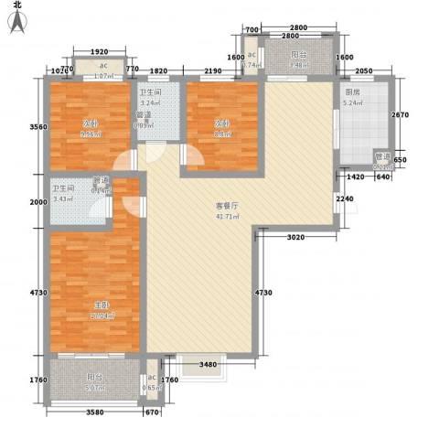 朝阳国际广场3室1厅2卫1厨147.00㎡户型图