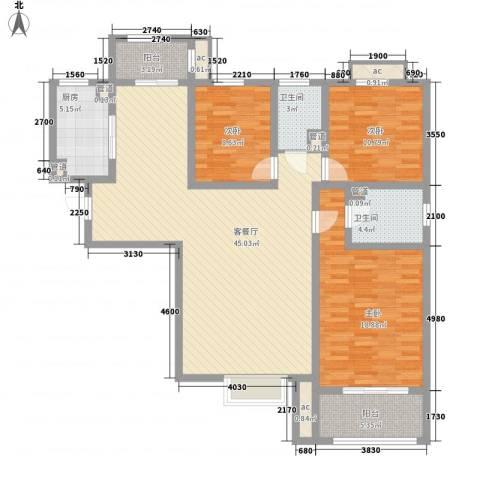 朝阳国际广场3室1厅2卫1厨156.00㎡户型图