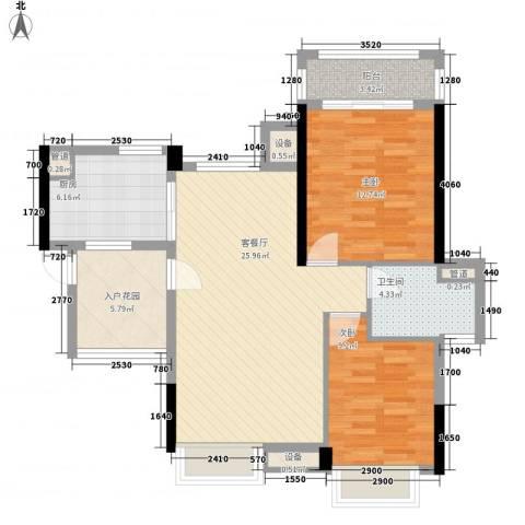 翡翠绿洲龙翔台2室1厅1卫1厨100.00㎡户型图