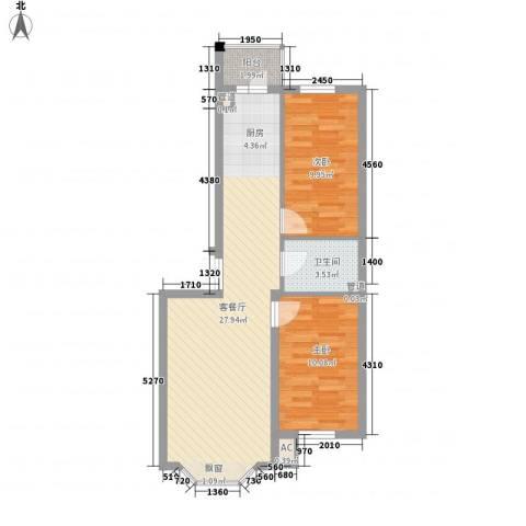 林海华庭2室1厅1卫0厨77.00㎡户型图
