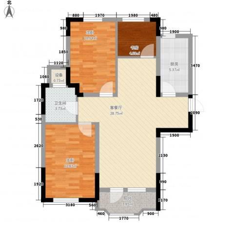 中庚香海连天3室1厅1卫1厨80.00㎡户型图