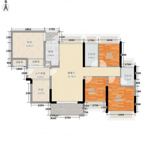 风临美丽湾3室1厅2卫1厨95.00㎡户型图