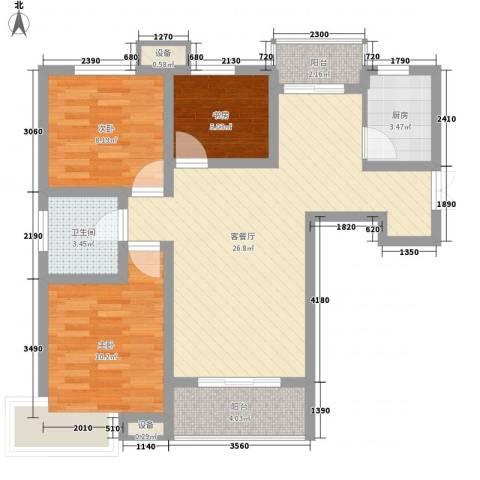 长春都市花园3室1厅1卫1厨95.00㎡户型图