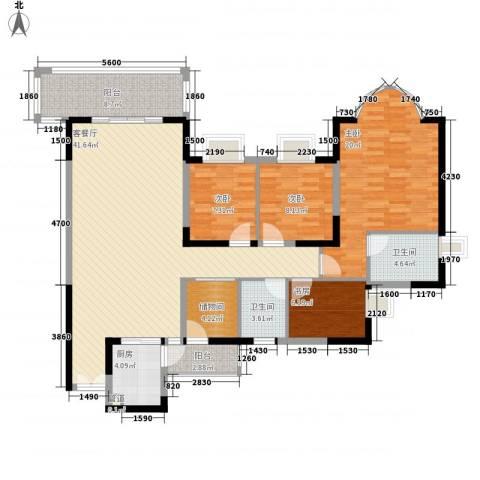 鸿景园4室1厅2卫1厨158.00㎡户型图