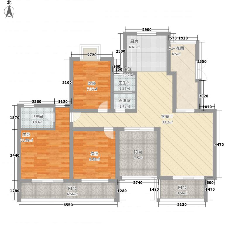沁春园137.43㎡一期电梯多层E型5F户型3室2厅2卫