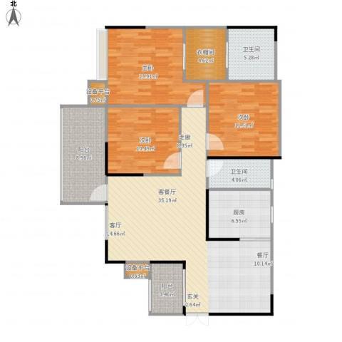 龙湾上城3室1厅2卫1厨143.00㎡户型图
