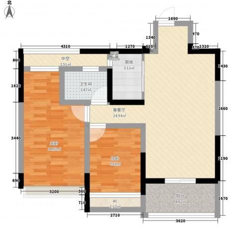 金色领寓2室1厅1卫1厨89.00㎡户型图