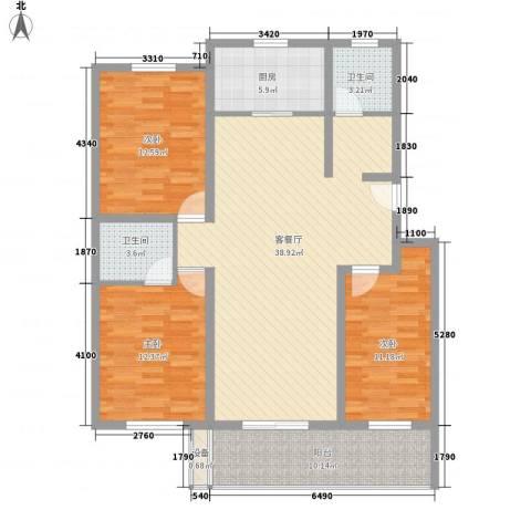 长春都市花园3室1厅2卫1厨135.00㎡户型图