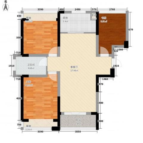 建业时光原著3室1厅1卫1厨92.00㎡户型图