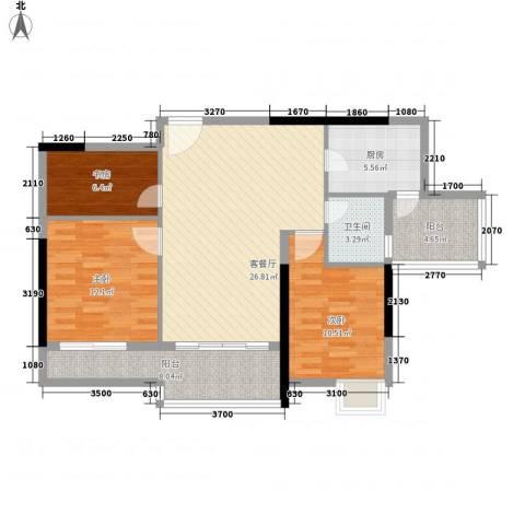 长春都市花园3室1厅1卫1厨110.00㎡户型图