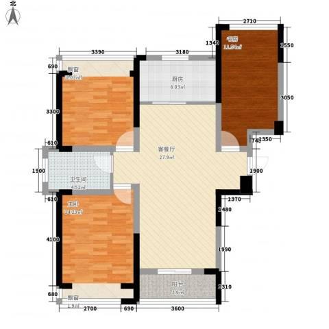 建业时光原著3室1厅1卫1厨93.00㎡户型图