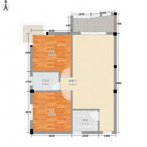 庄园豪都2室1厅1卫1厨85.00㎡户型图