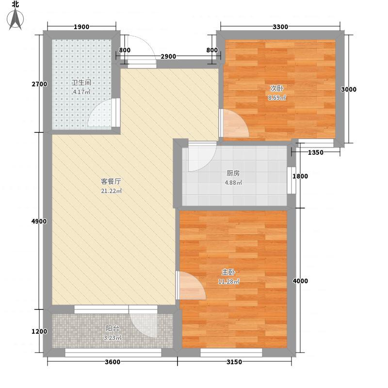 天鸿展视界75.55㎡23号楼B1户型2室2厅1卫1厨