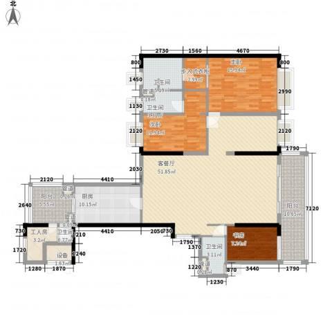 方圆月岛3室1厅4卫1厨385.00㎡户型图