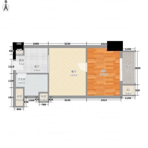 通商华富国际广场1室1厅1卫1厨55.00㎡户型图